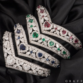 Graff White Gold Diamond, Emerald, Ruby & Sapphire Set Bangles